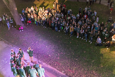 Photo by Max Catalano, BSVC 20'   Yell Like Hell Prep Rally promotes homecoming weekend events on College Green on October 18.