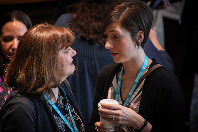 Molly Bates (left) and Delainey Mcllwain chat during registration for OU-Lancaster's 13th Annual Celebrate Women Conference on March 22, 2019.