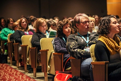 """Audience members fill the auditorium at Ohio University's Lancaster campus for the 13th Annual Celebrate Women Conference morning panel discussion titled, """"Women who challend, lead, and succeed."""""""