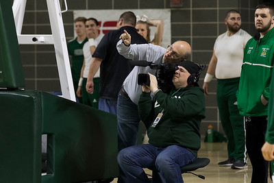 Photo by Max Catalano, BSVC 20'   Bryan McGlone from Ohio University's Southern campus operates the lower level camera under Don Moore's direction for the ESPN broadcast of OU vs. Eastern Michigan on February 12, 2019.
