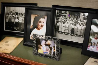 A luncheon was held at the Ohio Inn in Athens recently, to celebrate the awardees of the Isabel Courtney Hall Music Education Scholarship. A pictoral display of Ms. Hall's life and accomplishments was set up nearby.
