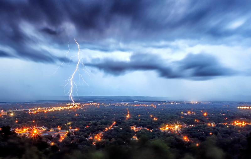 Lightning Strike Over Hot Sprngs, Arkansas - June 15, 2015