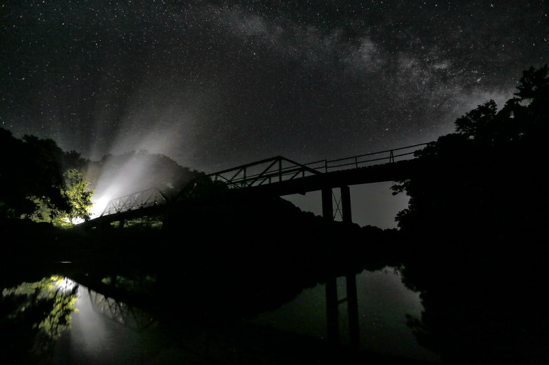 Light in the Shadows - Milky Way over the Iron Bridge - Mountain Fork River, Arkansas