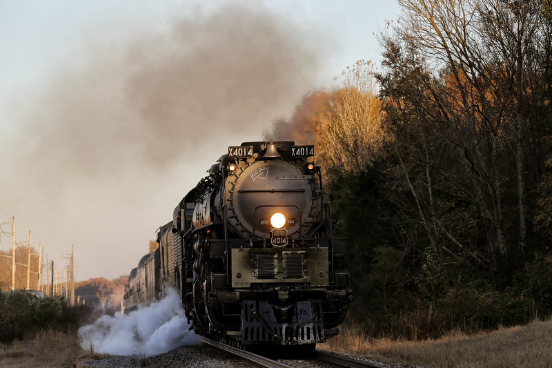 Union Pacific's Big Boy steam locomotive No. 4014 on its 2019 tour to commemorate the transcontinental railroad's 150th Anniversary! - along the Arkansas River at Ozark and coming in fast near Dyer, Arkansas - November 15, 2019