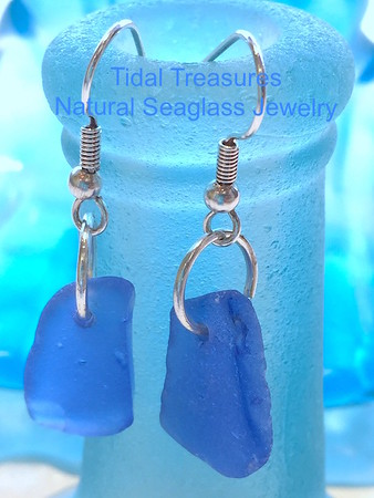 COBALT BLUE Natural Seaglass Earrings by Aimee K. Wiles Banion