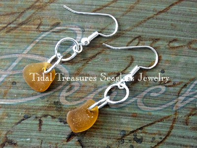 Rare Yellow Seaglass Earrings by Aimee K. Wiles Banion