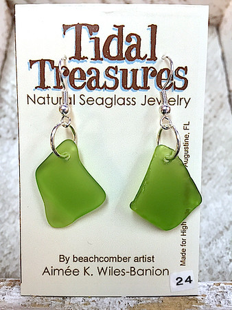 Lime Green Seaglass & Sterling Silver Earrings by Aimee Wiles Banion