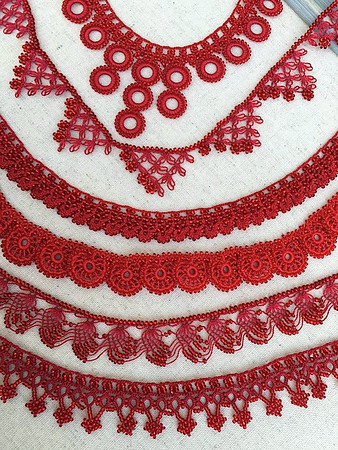 Caroline Redding Tatting Necklaces: RED