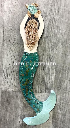 Ceramic Mermaid With Seaturtle- Deb C. Steiner
