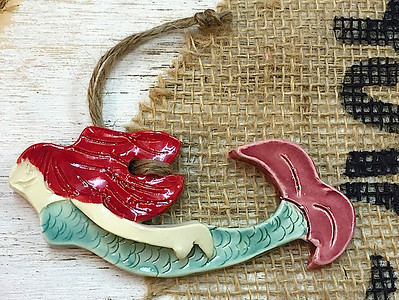 Auburn Mermaid Ceramic Ornament - Deb C. Steiner