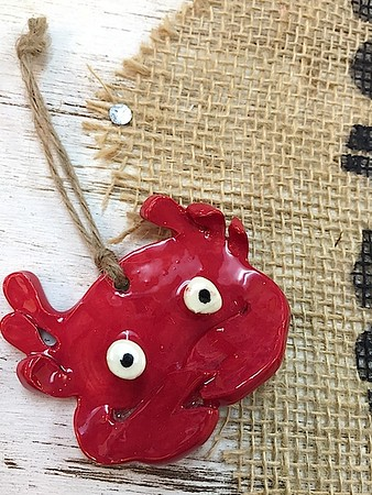 Red Crab Ceramic Ornament - Deb C. Steiner