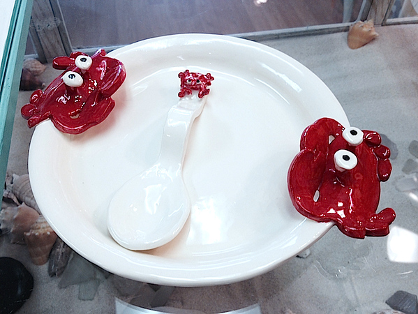 Ceramic Red Crab Plate & Spoon - Deb C. Steiner