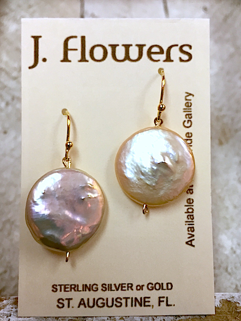 JANIS FLOWERS Peach Freshwater Coin Pearl Earrings