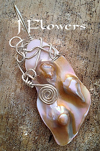 JANIS FLOWERS Sterling Wirewrapped Blister Pearl Pendant