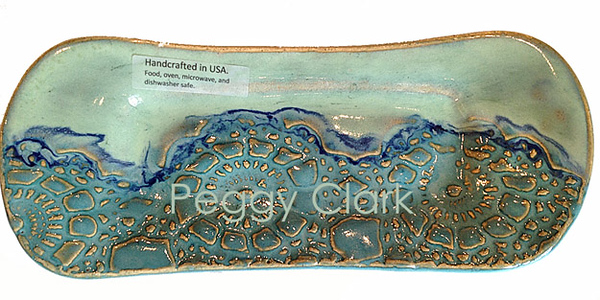 """BUTTER DISH"" Ocean Heirloom Lace Pottery by Peggy Clark"
