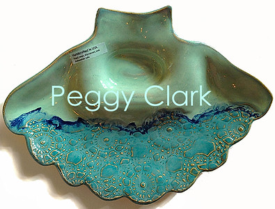 """FAN SHELL SERVER"" Ocean Heirloom Lace Pottery by Peggy Clark"