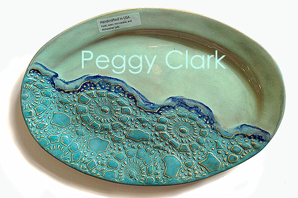 """OVAL DINER PLATE"" Ocean Heirloom Lace Pottery by Peggy Clark"