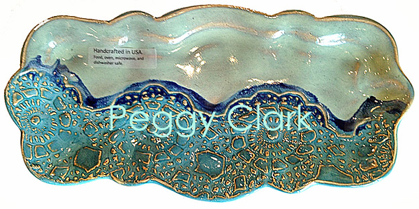 """CORN ON THE COB PLATE"" Ocean Heirloom Lace Pottery by Peggy Clark"