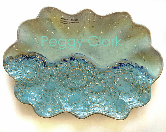"""OBLONG SCALLOP EDGE TRAY"" Ocean Heirloom Lace Pottery by Peggy Clark"