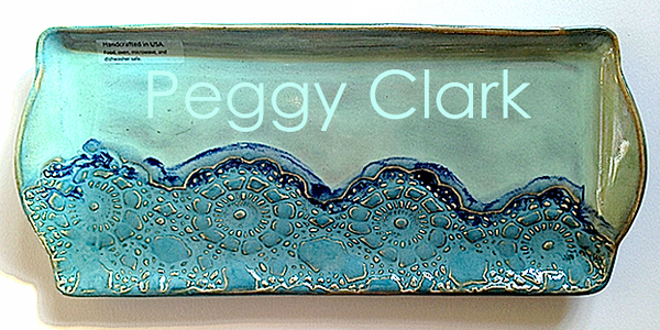 """HANDLED CRACKER TRAY"" Ocean Heirloom Lace Pottery by Peggy Clark"