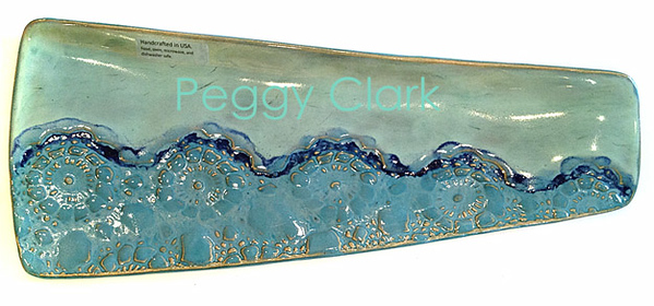 """LG. TRIANGLE FISH PLATE"" Ocean Heirloom Lace Pottery by Peggy Clark"