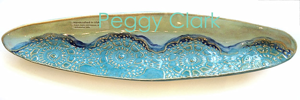 """OLIVE TRAY"" Ocean Heirloom Lace Pottery by Peggy Clark"