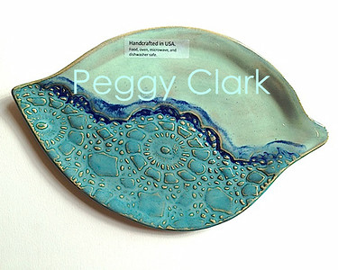 """Cheese Plate"" Ocean Heirloom Lace Pottery by Peggy Clark"