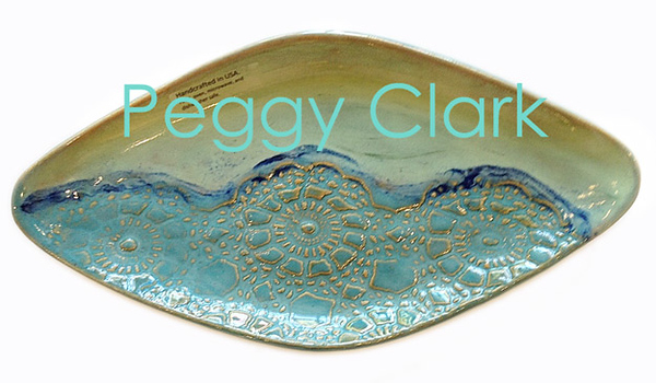 """DIAMOND TRAY"" Ocean Heirloom Lace Pottery by Peggy Clark"