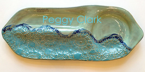 """VEGGIE / DIP TRAY"" Ocean Heirloom Lace Pottery by Peggy Clark"