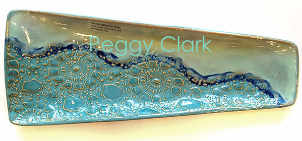 """SM. TRIANGLE FISH PLATTER"" Ocean Heirloom Lace Pottery by Peggy Clark"