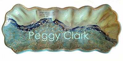 """PICKLE TRAY"" Ocean Heirloom Lace Pottery by Peggy Clark"