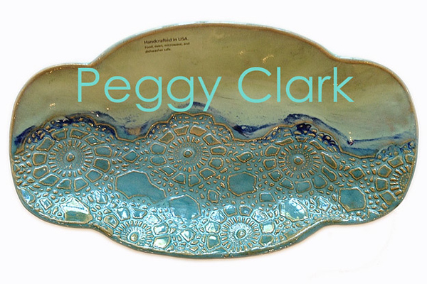"""Fruit / Rolls Tray"" Ocean Heirloom Lace Pottery by Peggy Clark"