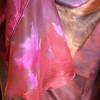 'silk road' satin circle skirt  - close up colors