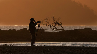Marlis, photographing at Finlayson Pt, at sunset, on what was a rather windy day.