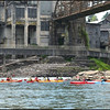 Kayakers on the Willamette River, and the historic 1889 West Linn Paper Mill.  Willamette Falls, Oregon City-West Linn, Oregon.  (2013)