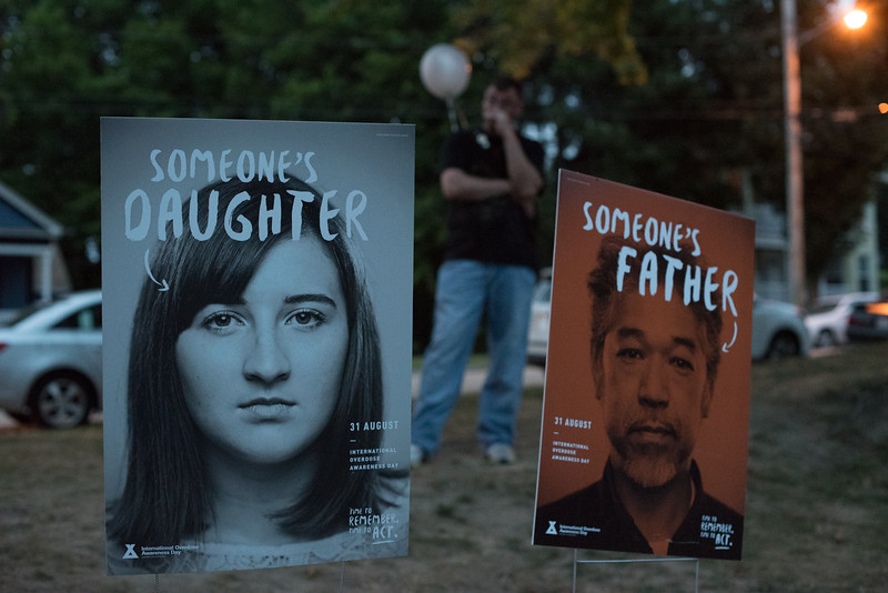 During the Second Annual International Overdose Awareness Day in Gardner Wednesday night, residents of surrounding towns came together at Monument Park  to remember family and friends who have suffered the tragic consequences of the opiate epidemic. SENTINEL & ENTERPRISE/JEFF PORTER