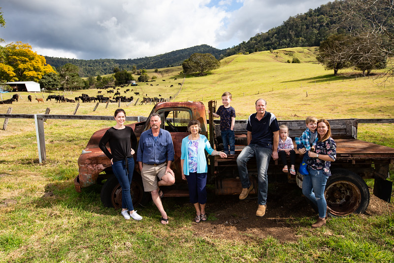 Carlee Graf, Peter Yaun, Muriel Yaun, Will Shepherd, Barry Yaun, Neve Shepherd, Aiden Graf, Rachel Shepherd. Numinbah Valley, Gold Coast, 26 July 2019. Photo: Attila Csaszar