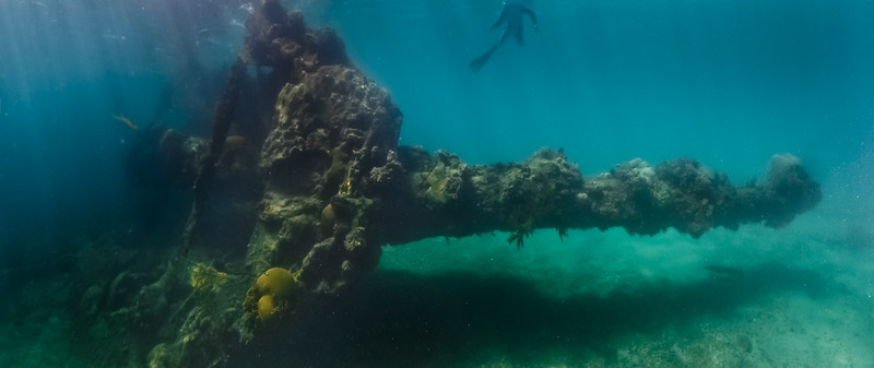 A panorama of the Windjammer wreck in the Dry Tortugas, FL.
