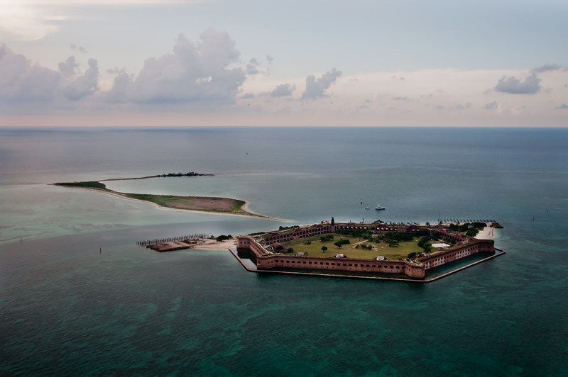 An aerial view of Fort Jefferson, Bush Key and Long Key can be seen to the left of the fort.