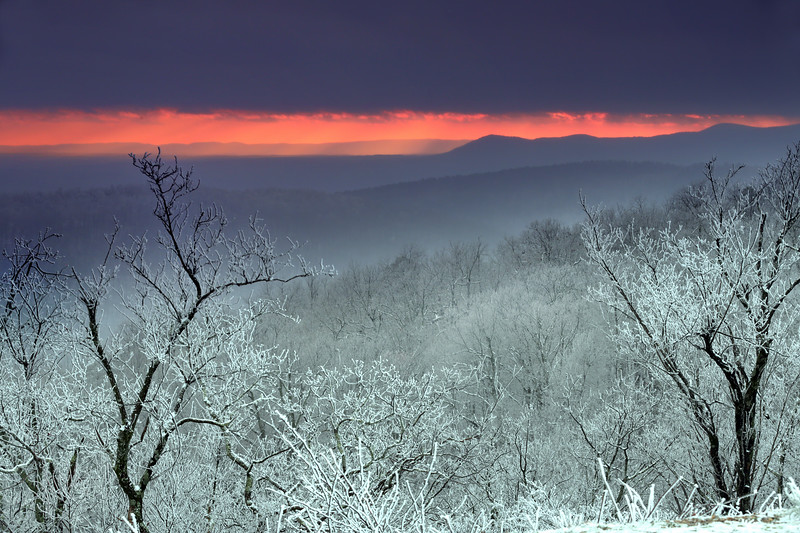 Icy Sunset - Queen Wilhelmina State Park - Talimena National Scenic Byway - Arkansas - Feb 6, 2020
