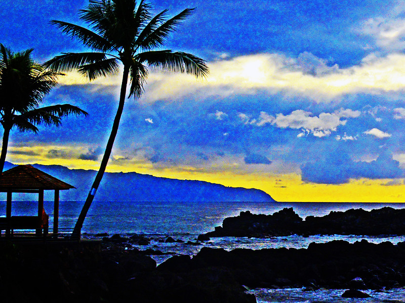 Stylized Oahu Hawaiian sunset.