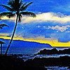Stylized Oahu Hawaiian sunset.