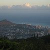 Diamond Head and Waikiki in the late afternoon from the top of Mount Tantalus.