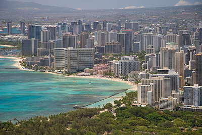 Diamond Head Crater, view from the top, west waikiki