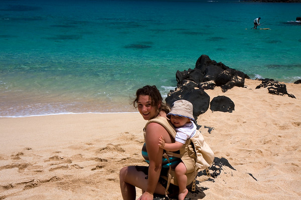 Oneea and Alex at Waimea Bay. This backpack that Oneea bought right before the trip was great to have on vacation. Very easy to pack, and Alex really enjoys being close to Mom.