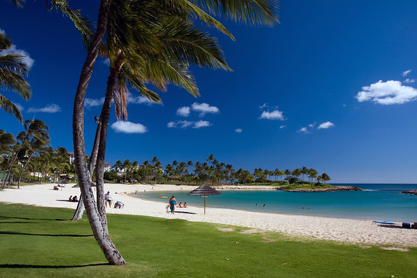 The peacful Ko Olina lagoon. Oneea and Alex off in the distance.