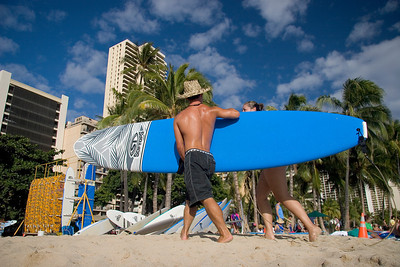 Waikiki beach, the classic surfteacher