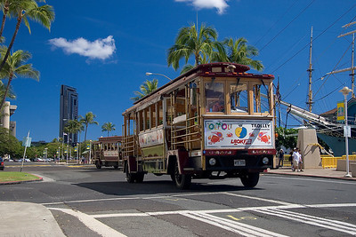 Tourist bus at aloha market