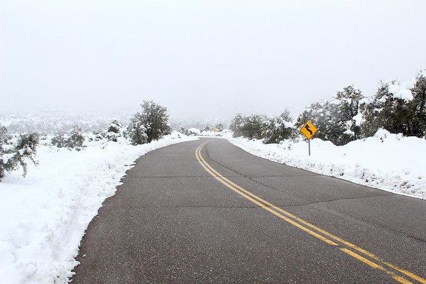 Magma Mine Road during a winter storm (2019)
