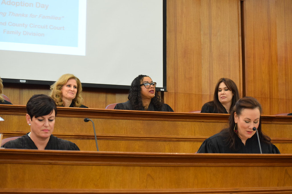 . Family Division Presiding Judge Lisa Gorcyca (left) and Oakland County Chief Circuit Court Judge Nanci Grant (right). Seven adoptions were finalized at the Oakland County Board of Commissioners Auditorium, 1200 N. Telegraph Road, Pontiac, Mich., on Tuesday, Nov. 21, 2017 as part of Michigan Adoption Day. Over 30 other courts around the state held their own finalization ceremonies. (Mark Cavitt/The Oakland Press)